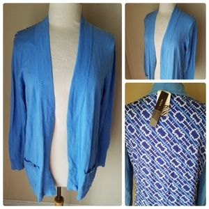 NWT Dana Buchman Light Blue Open Front Cardigan
